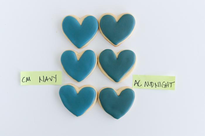 Chefmaster Navy vs. AmeriColor Midnight Food Coloring Comparison