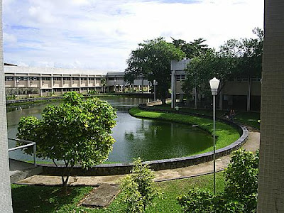 Antigo Cefet-PE, atual IFPE Campus Recife. Descrição da imagem #PraCegoVer: Parte do interior do antigo Cefet-PE, atual IFPE Campus Recife. A foto mostra um lago, algumas árvores, um poste de luz, alguns corredores e dois dos blocos da instituição. Fim da descrição.