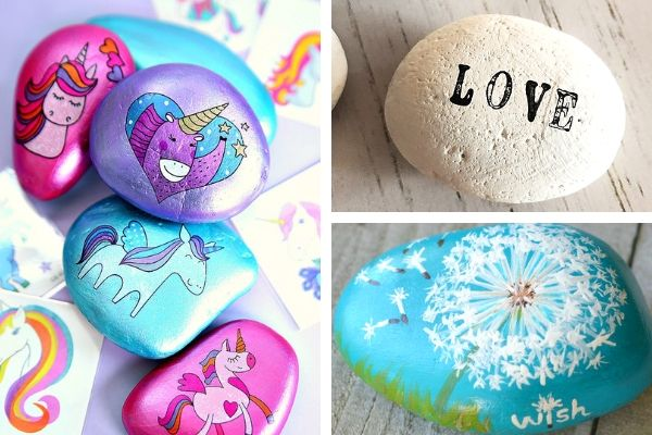 Unicorn painted stones, black and white stamped painted stone and dandelion painted rock