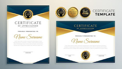 Golden certificate award template for multipurpose use Free Vector