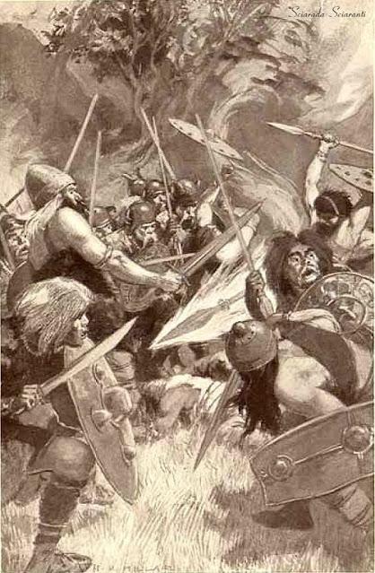 La lancia magica di Lugh - Illustrazione di Harold Robert Millar per Celtic myth and legend poetry and romance - Charles Squire - 1910