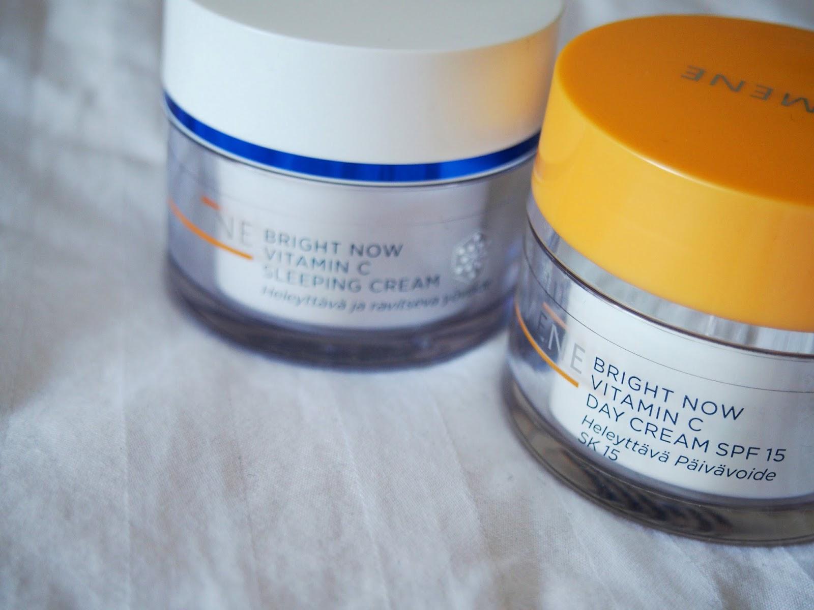 Lumene, Bright now, vitamin c day cream, night cream, vitamiini, c-vitamiini, päivävöide, yövoide, kosteuttava, suojakerroin, aurinkosuoja, spf, 15, hoitava, moisturizer, moisturizing