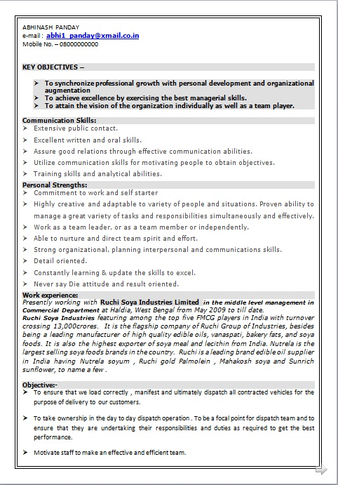 RESUME BLOG CO Resume Sample of Middle level Management Looking