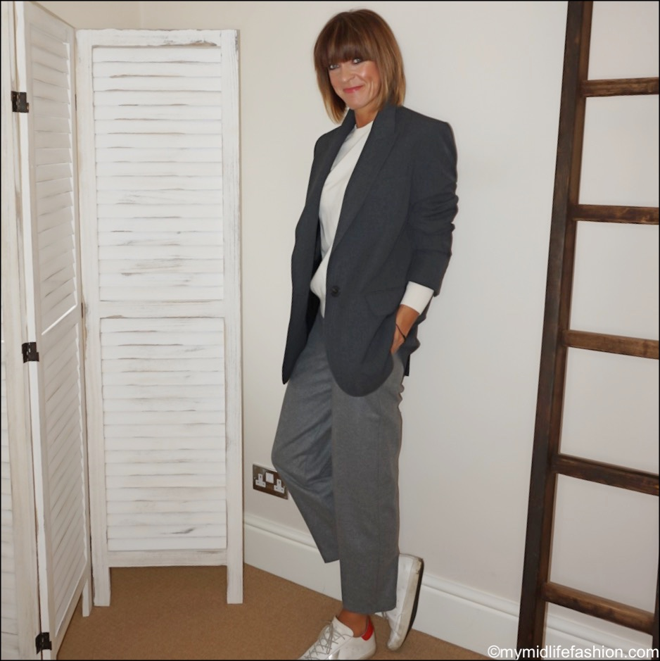 my midlife fashion, Zara oversized blazer, marks and Spencer pure cashmere crew neck jumper, marks and Spencer wool straight leg 7/8th trousers, golden goose superstar low top leather trainers