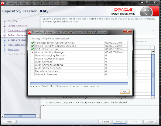12C RCU failed on Oracle Identity Manager Schema