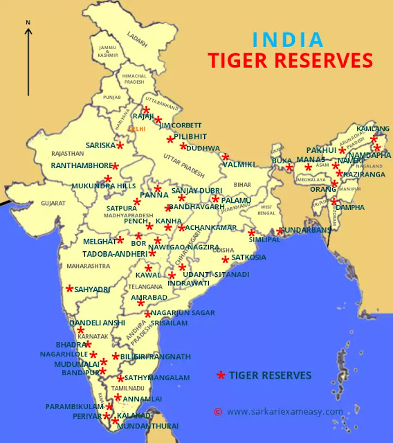 Tiger Reserves in India map