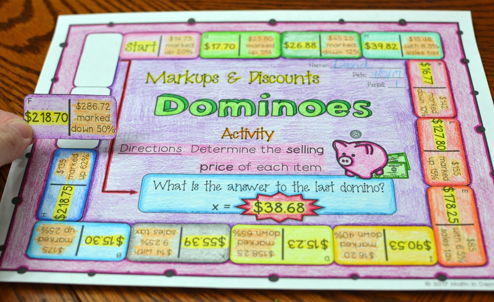 Markups and Discounts Dominoes Activity   Math in Demand