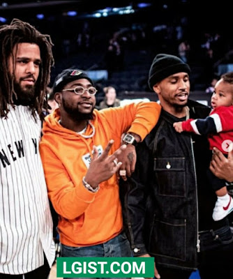 J.Cole and Trey Songz,  pictured with Davido at Madison Square