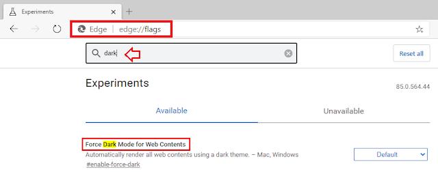 Dark Mode Edge Browser