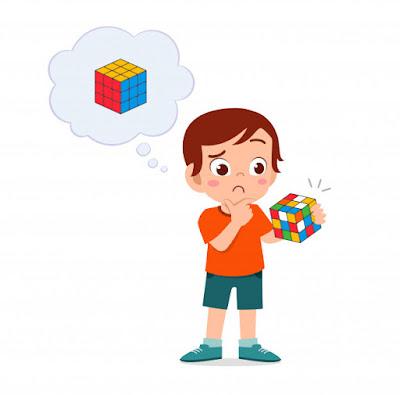 anak berpikir konsep dan bagian rubik's cube