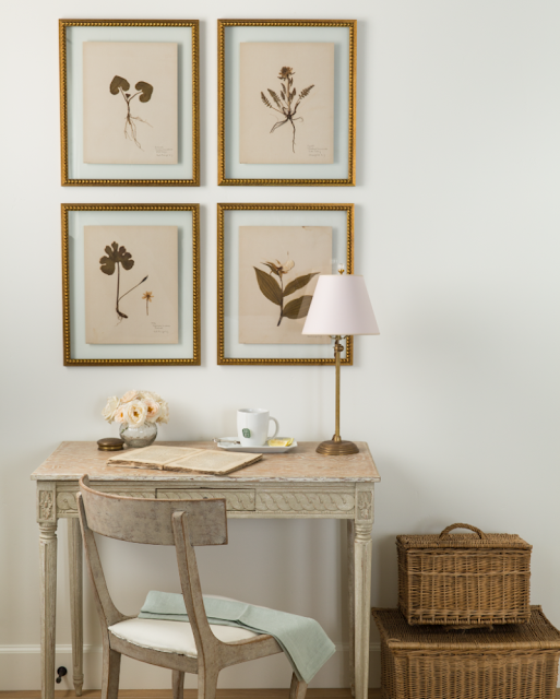Swedish antique writing table and botanical prints in French Country beach house by Giannetti Home - found on Hello Lovely Studio