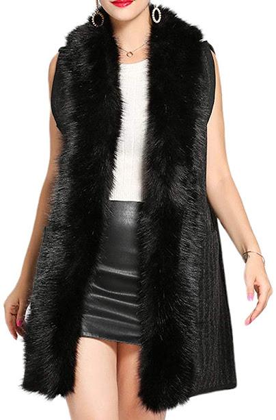 Long Black Faux Fur Vests for Women