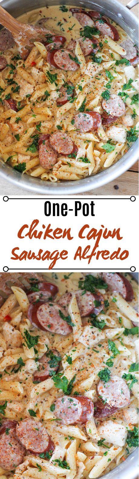 One Pot Cajun Chicken Alfredo #chicken #dinner