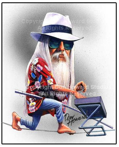 Leon Russell Celebrity Caricature Art Print from Don Howard Studios