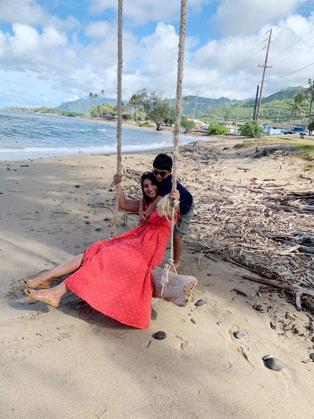 Drift wood rope ocean side swing Oahu