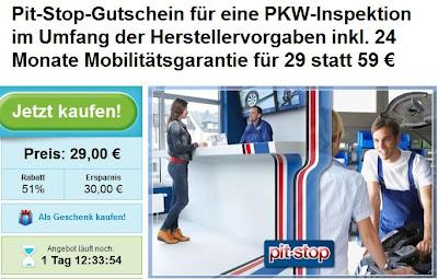 Groupon: PKW-Inspektion bei Pit-Stop für 29 Euro (nach Herstellervorgaben, mit Mobilitätsgarantie)