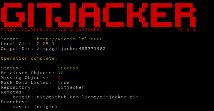 GitJacker : Leak Git Repositories From Misconfigured Websites