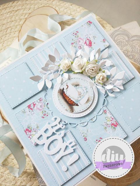 Kartka patchworkowa z okazji narodzin chłopca