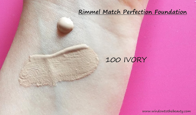 Rimmel Match Perfection 100 ivory swatches