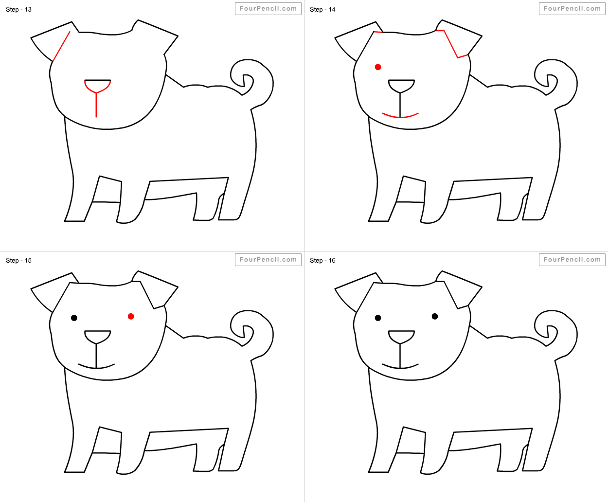 Drawing Dog Easy Step By Step How To Draw Cute Kawaii Chibi Dog