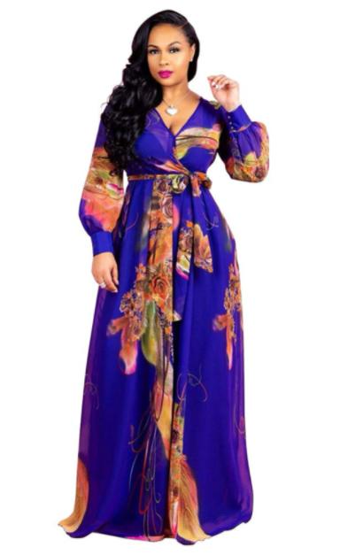 Nuofengkudu Womens Chiffon V-Neck Ankara Long dress