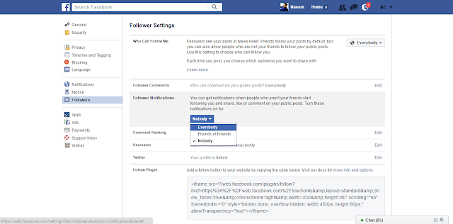 Facebook Followers Settings notify