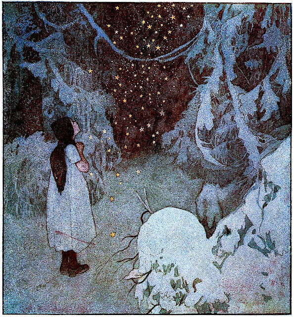 a 1921 Artus Scheiner illustration of a girl in the magic woods at night