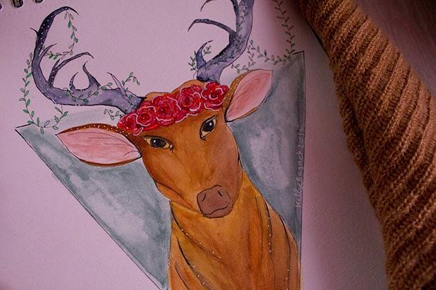 draw on monday 20, draw, dom, dessin, art, forêt, forest, deer, floral crown, aquarelle, watercolor, enjoyk,