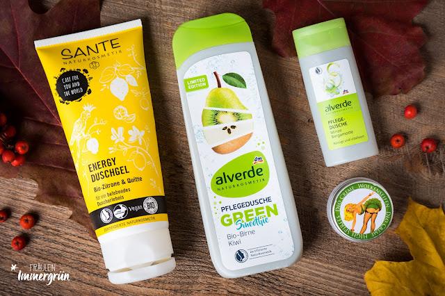Sante Energy Duschgel Bio-Zitrone & Quitte, Alverde Pflegedusche Green Smoothie, Alverde Pflegedusche Minze Bergamotte (Reisegröße), Wolkenseifen Cremedeo High Spirit