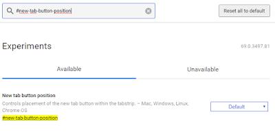 Cách thay đổi vị trí nút New Tab trên Chrome 69