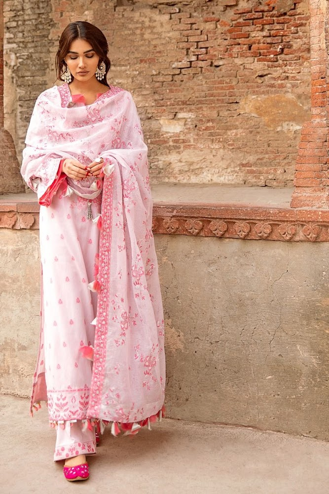 Gul Ahmed White & Pink Suit embroidered jacquard