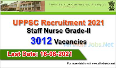 UPPSC-Recruitment-2021-Staff-Nurse-3012-Vacancies-Apply-Online-allindiajobs.net