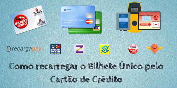 recarga celular, pagamento de contas, compras de crédito bilhete único com cartão de crédito