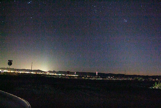 Westward view from Highway 93 with DSLR, 18mm, ISO800, 8 seconds (Source: Palmia Observatory)