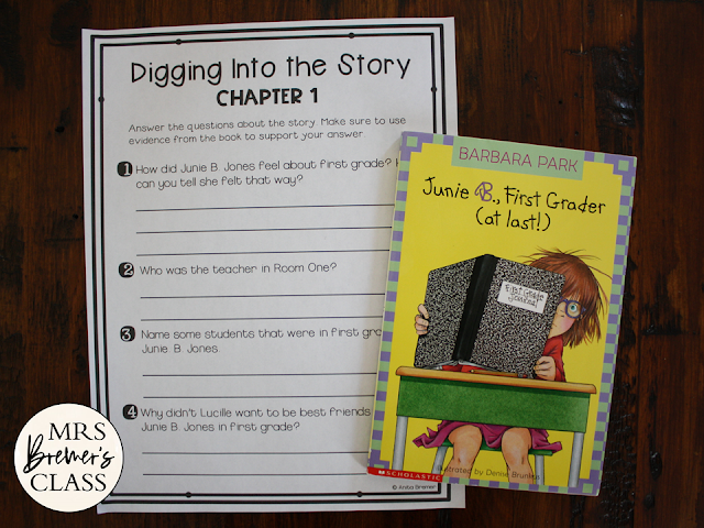 Junie B Jones First Grader at Last book study literacy unit with Common Core aligned companion activities 1st grade 2nd grade