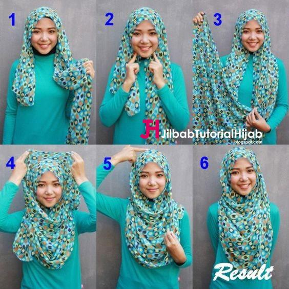 Kumpulan Gambar Tutorial Cara Memakai Hijab Motif Sederhana