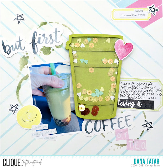 Coffee and Tea Lovers Scrapbook Layout with Chipboard Coffee Cup Shaker Filled with Sequins and Acrylic Shapes