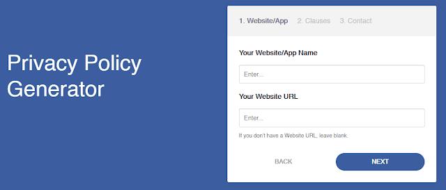 Isikan Nama dan Alamat Blog yang akan Dipasang Privacy Policy
