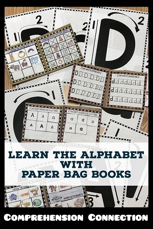 Looking for fun hands-on activities for teaching the alphabet? Check out this post to learn more about these great paper bag books and other fun ideas. Free resources included.