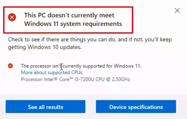 this pc doesn't meet the minimum system requirements windows 11