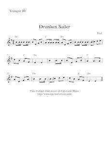 Drunken Sailor, trumpet sheet music