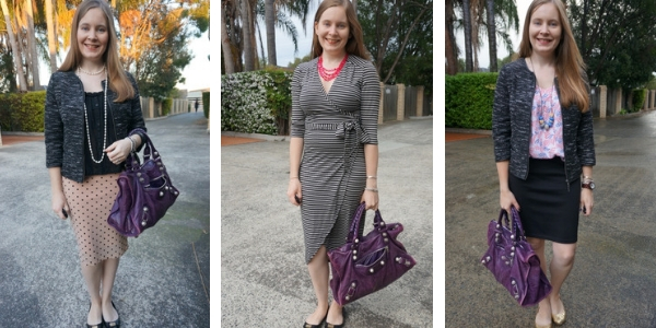 3 different ways to wear pink and purple with Balenciaga purple work bag | away from the blue blog
