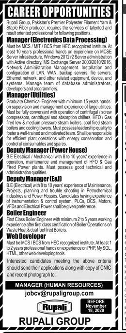 Rupali Group Jobs 2020, Manager, Deputy Manager, Web Developer