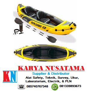 Jual Perahu Karet Kano Dayung Aluminum Oars+Pompa Kuning Intex Explorer K2 di Surabaya