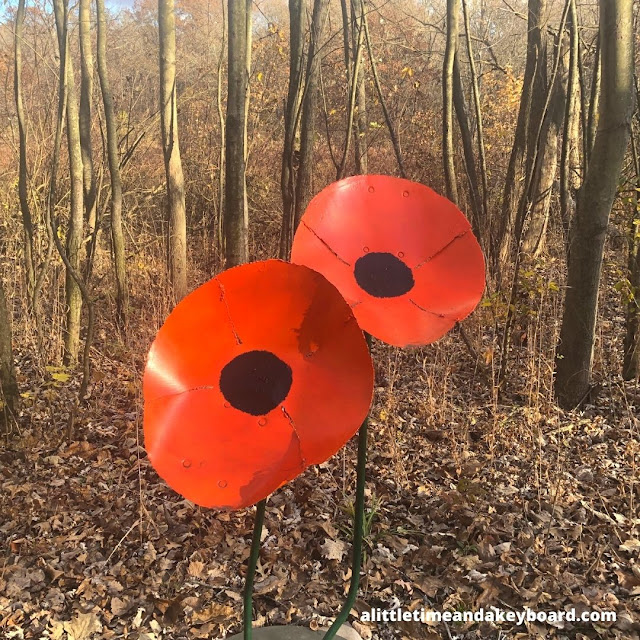 Touching poppy sculpture at Goodenow Grove.