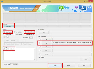 Setting Flash Samsung 1 file with odin