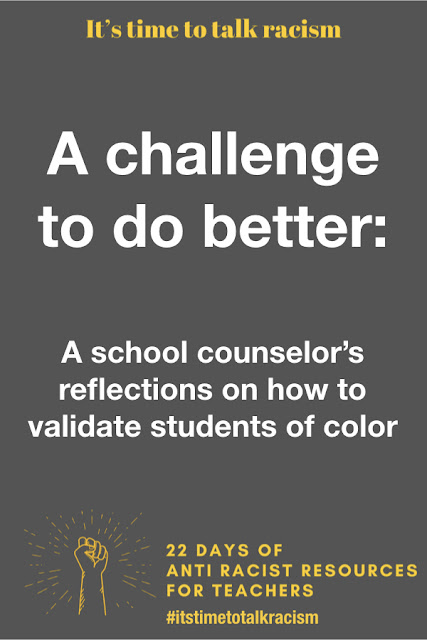 Students of color are often marginalized in schools.They are viewed as a homogeneous group and are often the targets of prejudice, stereotyping, and microaggressions. To counter this, teachers have to make an effort to validate their students of color. This post and free download help you do just that. Read the post to learn about why it's so important to validate our students of color, and get the download. It's available in three different levels to meet the needs of students K-8 in writing and drawing. Get to know your kids so you can validate their experience! 22 days of anti-racist resources for teachers.