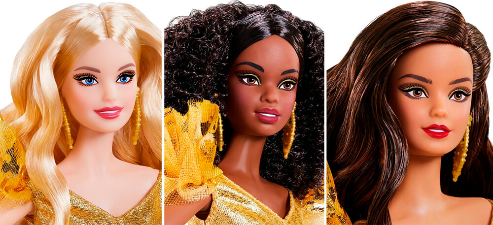 Faces of new Barbie Holiday 2020 dolls