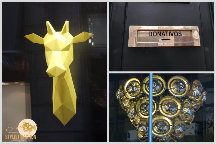 inspiracion callejera - una jirafa amarilla, un buzon y una lampara hecha con coladores
