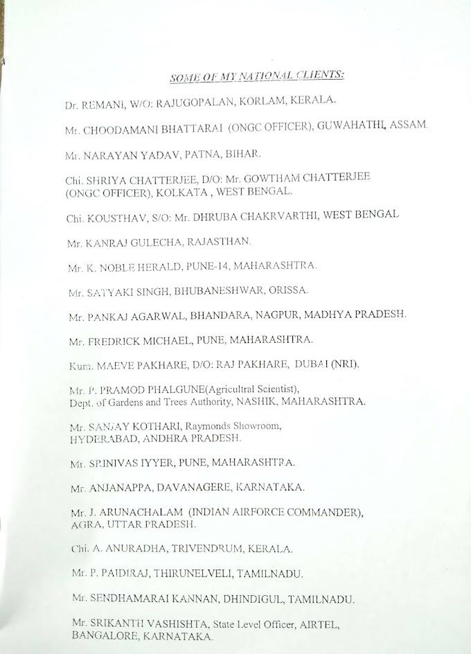 ప్రముఖ జ్యోతిష్కులు ఆదిత్య నారాయణ గారి కొంత మంది ముఖ్య క్లైంట్స్.